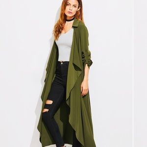 Olive Green Open Trench Duster Jacket
